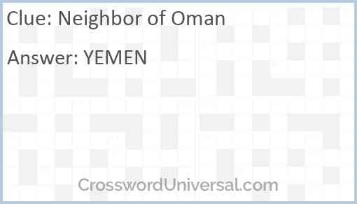Neighbor of Oman Answer