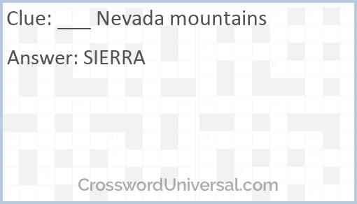 ___ Nevada mountains Answer