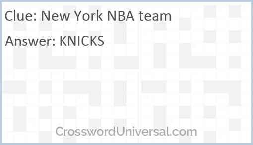 New York NBA team Answer