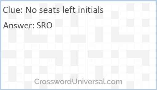 No seats left initials Answer