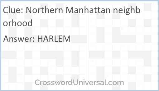 Northern Manhattan neighborhood Answer