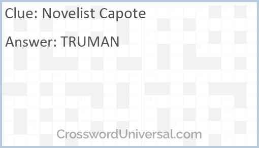 Novelist Capote Answer