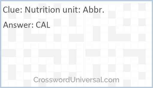 Nutrition unit: Abbr. Answer