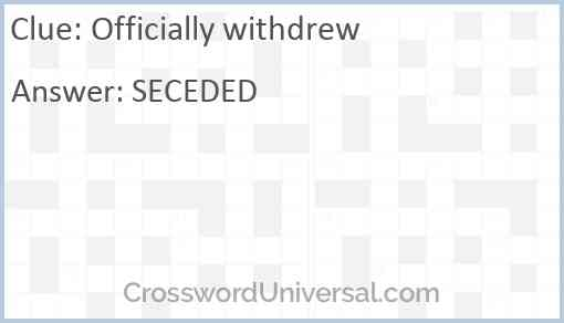 Officially withdrew Answer