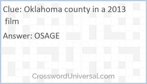 Oklahoma county in a 2013 film Answer