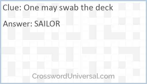 One may swab the deck Answer