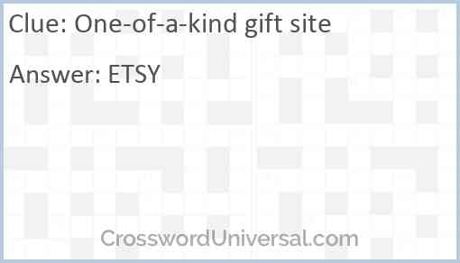 One-of-a-kind gift site Answer