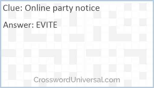 Online party notice Answer