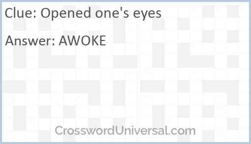 Opened one's eyes Answer