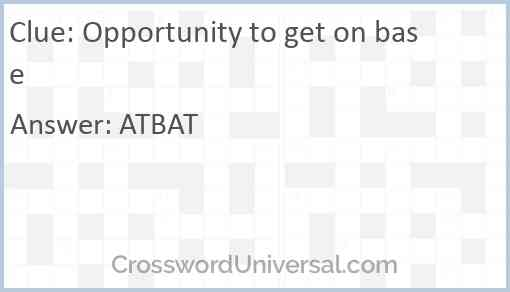 Opportunity to get on base Answer