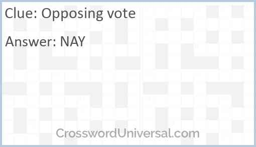 Opposing vote Answer