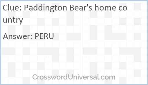 Paddington Bear's home country Answer