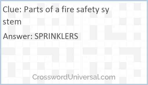 Parts of a fire safety system Answer