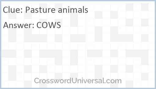 Pasture animals Answer