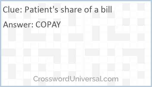 Patient's share of a bill Answer