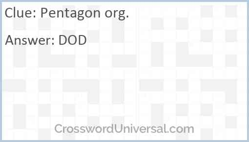 Pentagon org. Answer