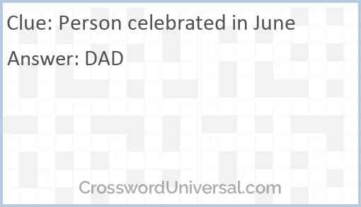 Person celebrated in June Answer