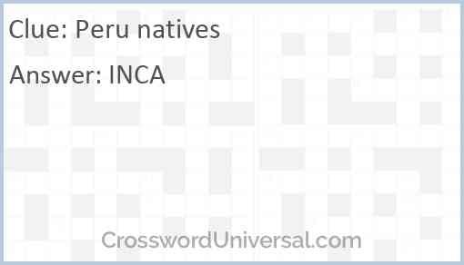 Peru natives Answer
