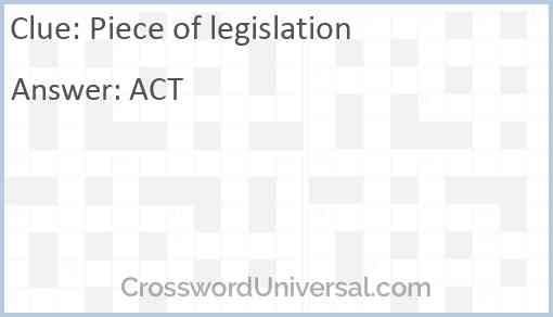 Piece of legislation Answer