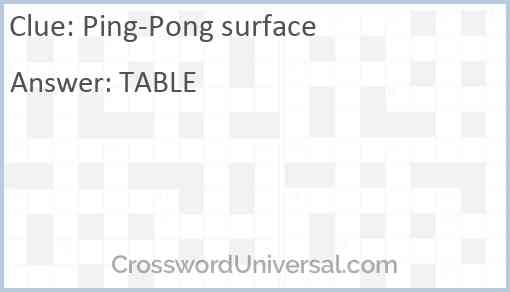 Ping-Pong surface Answer