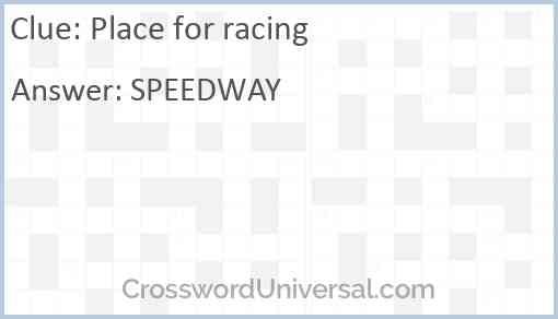 Place for racing Answer