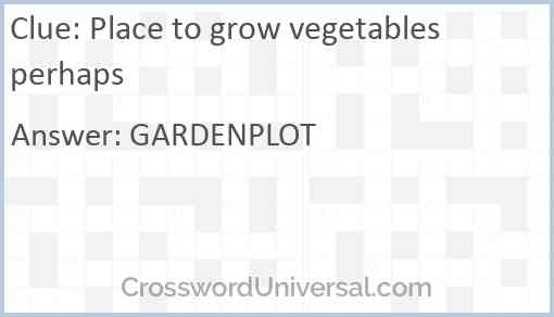 Place to grow vegetables perhaps Answer