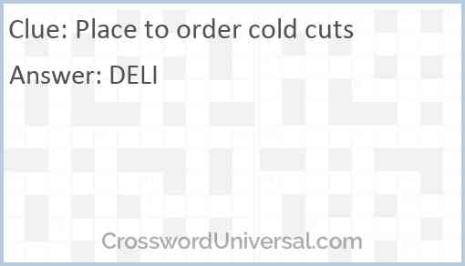 Place to order cold cuts Answer