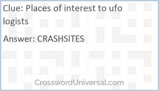 Places of interest to ufologists Answer