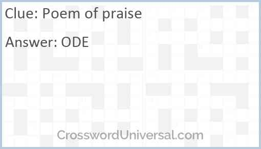 Poem of praise Answer