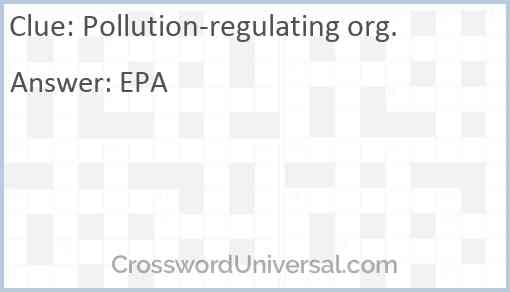 Pollution-regulating org. Answer