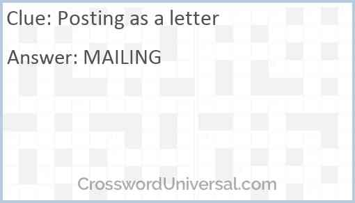 Posting as a letter Answer