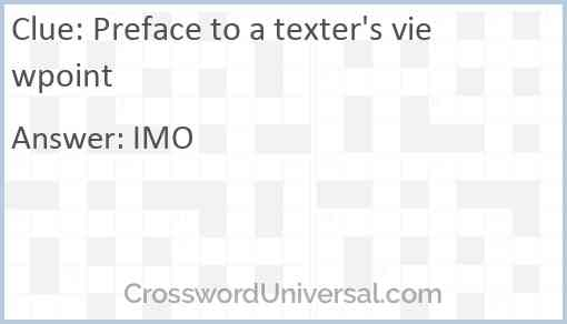 Preface to a texter's viewpoint Answer