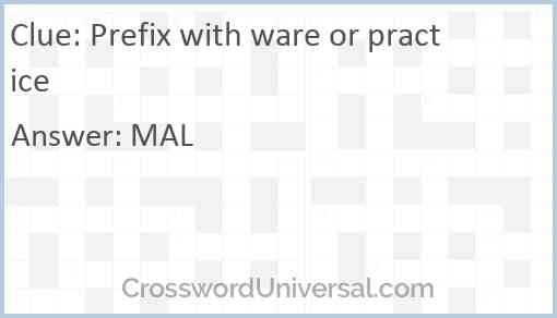 Prefix with ware or practice Answer