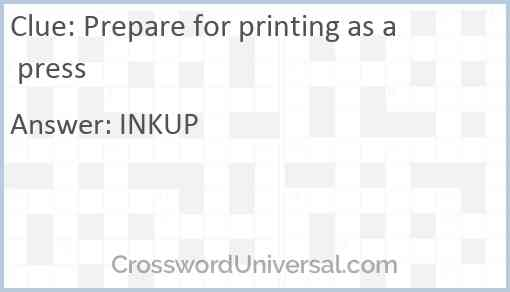 Prepare for printing as a press Answer