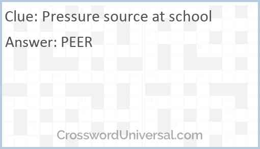 Pressure source at school Answer