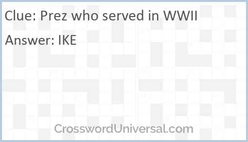 Prez who served in WWII Answer