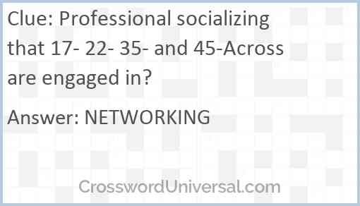 Professional socializing that 17- 22- 35- and 45-Across are engaged in? Answer