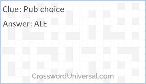 Pub choice Answer