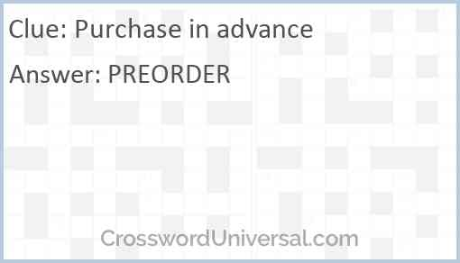 Purchase in advance Answer