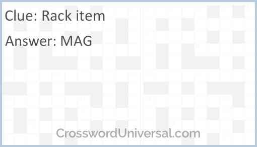 Rack item Answer