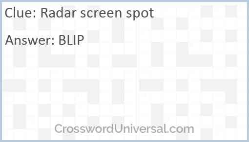 Radar screen spot Answer
