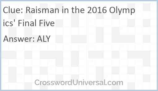 Raisman in the 2016 Olympics' Final Five Answer