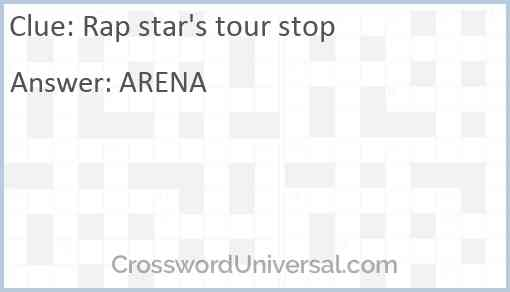 Rap star's tour stop Answer