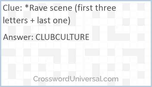 *Rave scene (first three letters + last one) Answer
