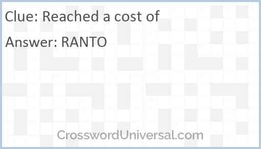 Reached a cost of Answer
