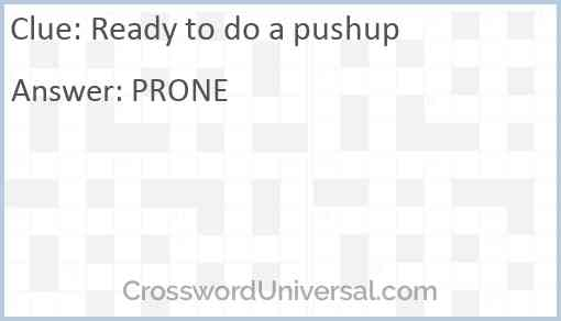 Ready to do a pushup Answer