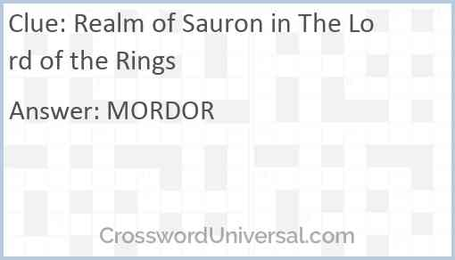 Realm of Sauron in The Lord of the Rings Answer