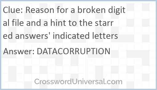 Reason for a broken digital file and a hint to the starred answers' indicated letters Answer