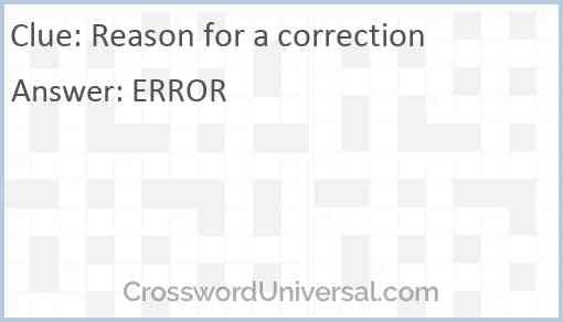 Reason for a correction Answer