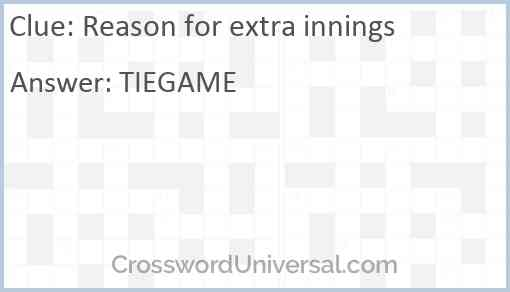 Reason for extra innings Answer